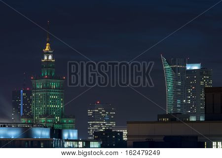 The Palace of Culture and Science in Warsaw at Night. Standing at 237 meters this building erected by Joseph Stalin is the tallest in the country of Poland.
