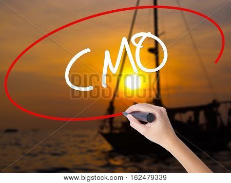 Woman Hand Writing Cmo (chief Marketing Officer)   With A Marker Over Transparent Board