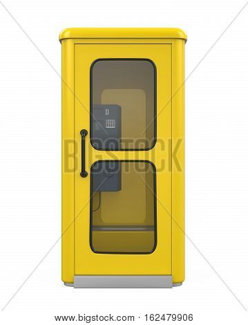 Yellow Telephone Booth isolated on white background. 3D render