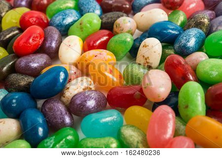 mixture assortment many different jelly beans closeup