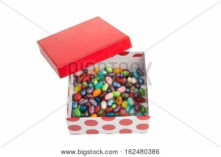 jelly beans in a box on a white background