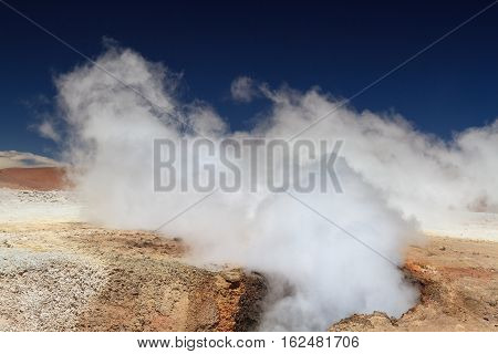Volcanic steam hole at Sol de Manana Altiplano Bolivia