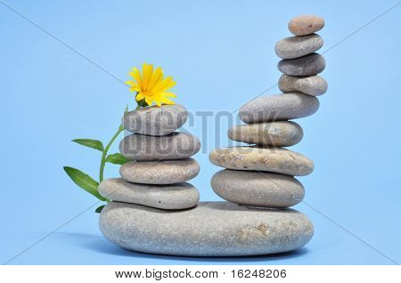 a pile of zen stones and flower on a blue background
