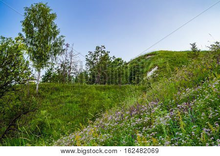 View of the chalk hill and the ancient forest archaeological monument - Krapivinskaya settlement Belgorod region Russia.