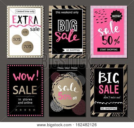Set of social media sale website and mobile banner templates. Vector banners posters flyers email newsletter ads promotional material. Typography discount card design. poster