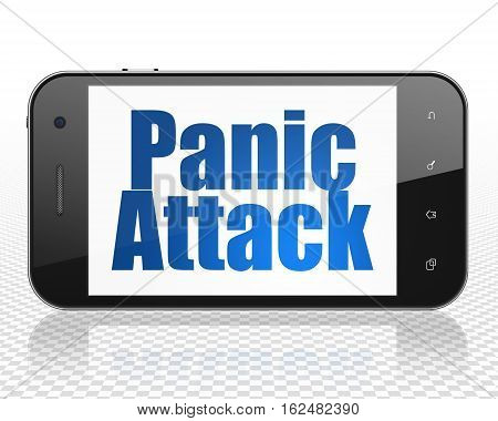 Healthcare concept: Smartphone with blue text Panic Attack on display, 3D rendering