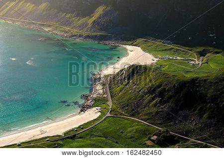 Fjord Landscape With Beach In Lofoten, Norway