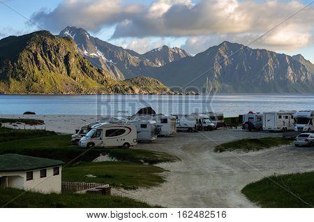 Caravan Cars In Camping On Norway Beach, Lofoten