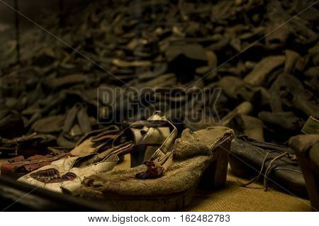 shoes from people who were killed at concentration camp Auschwitz Birkenau KZ Poland 2