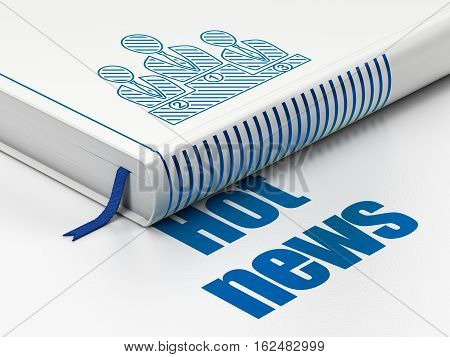 News concept: closed book with Blue Business Team icon and text Hot News on floor, white background, 3D rendering