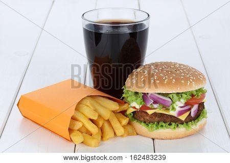 Cheeseburger Hamburger And Fries Menu Meal Combo Cola