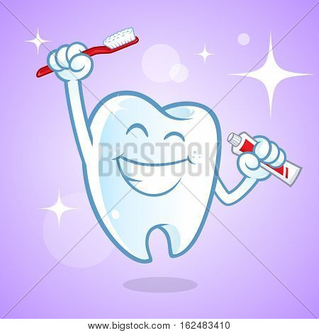 Sympathetic tooth with a big smile, He has a toothbrush
