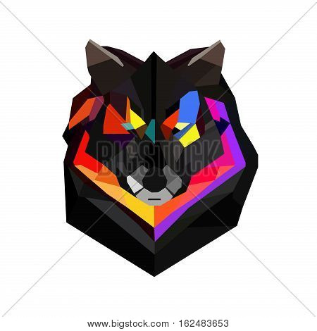 Wild wolf abstract geometric polygonal triangle illustration for use in design for card invitation poster banner billboard cover. Mascot coyote polygonal wolf modern triangle predator low poly.
