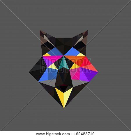 Fox polygonal portrait. Abstract low poly design. Vector illustration polygonal graphic geometric design. Modern creative icon wildlife triangle animal shape. Fox face origami animal.