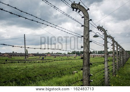 barbed wire at concentration camp Auschwitz Birkenau KZ Poland 2