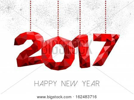 Red New Year 2017 Illustration Design In Low Poly