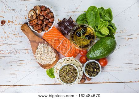 Selection of nutritive food - heart, cholesterol, diabetes, copy space