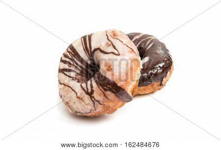 Chocolate sugar donut isolated on white background