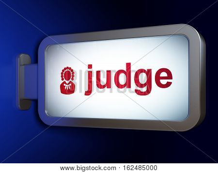 Law concept: Judge and Judge on advertising billboard background, 3D rendering