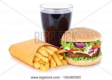 Cheeseburger Hamburger And French Fries Menu Meal Combo Cola Drink Fast Food Isolated