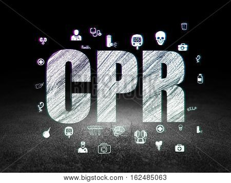 Health concept: Glowing text CPR,  Hand Drawn Medicine Icons in grunge dark room with Dirty Floor, black background