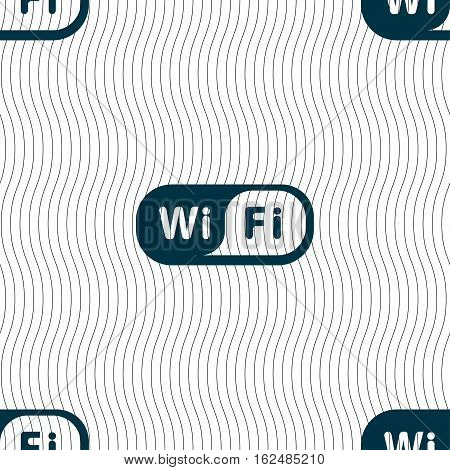 Wireless Network Icon Sign. Seamless Pattern With Geometric Texture. Vector