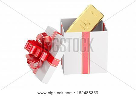 Gift box with golden ingot 3D rendering isolated on white background