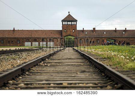 Rail entrance to concentration camp at Auschwitz Birkenau KZ Poland