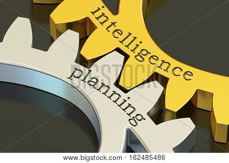intelligence planning concept on the gearwheels 3D rendering