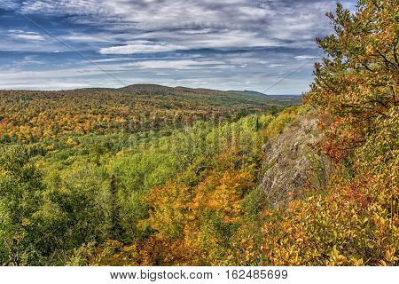 The view from the top of Brockway Mountain in the Keweenaw Peninsula of the Upper Peninsula of Michigan during the autumn colors.