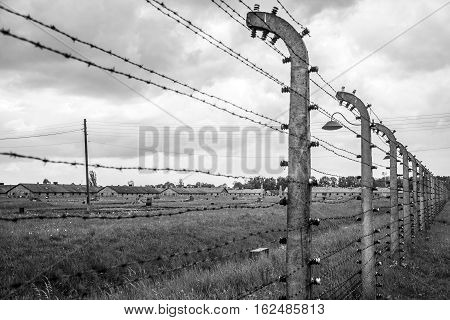 barbed wire at concentration camp Auschwitz Birkenau KZ Poland 5
