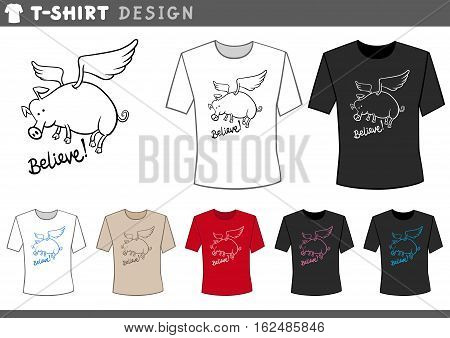 T Shirt Design With Flying Pig