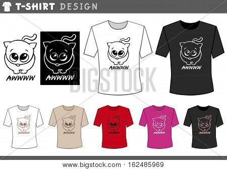 T Shirt Design With Adorable Cat