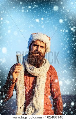 Christmas Bearded Man With Champagne
