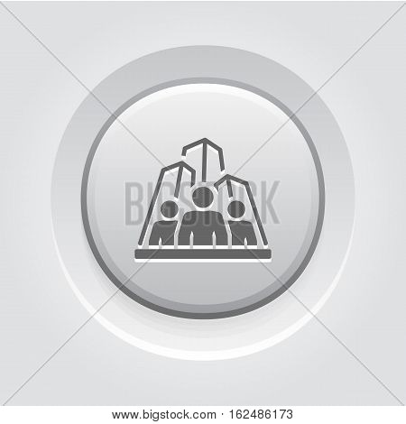 Business Team Icon. Business and Finance. Isolated Illustration. A group of people with skyscrapers in the background. Grey Button Design.
