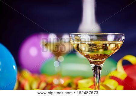 Happy New Year Party With Balloons And Champagne