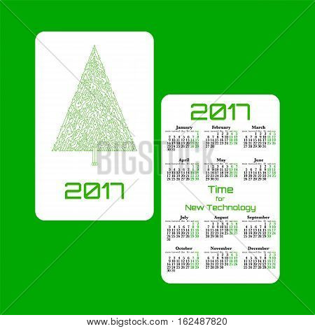 Vertical pocket calendar for 2017 year. Week starts Monday. Double-sided calendar for 2017 year. Yearly calendar template with text 2017 Christmas tree and text