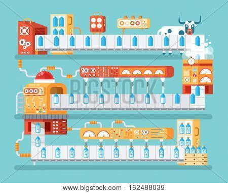 Stock vector vertical illustration of isolated milk conveyor with packaging and bottling of milk in flat style on blue background for banners, websites, printed materials, infographics