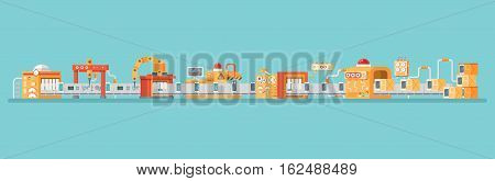 Stock vector horizontal illustration of conveyor for assembly and packaging, production of personal smart phones in flat style on blue background for banners, websites, printed materials, info graphics