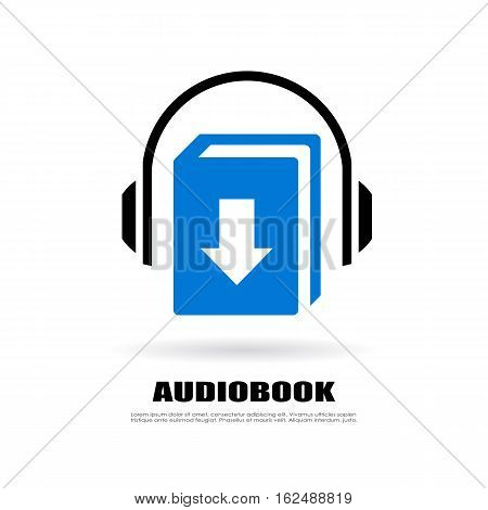 Download audio book vector icon illustration isolated on white background