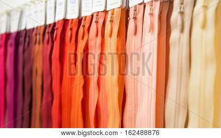 Zipper many colors. Rainbow zipper. Orange color