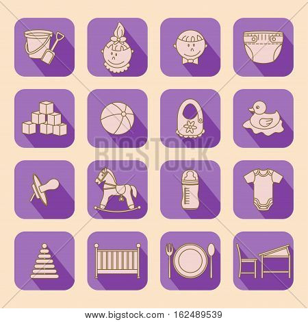 Child and baby care center flat icons with shadow. Kindergarten vector logo. Diaper, sandpit, slide, horse, ball, bottle, crib pacifier
