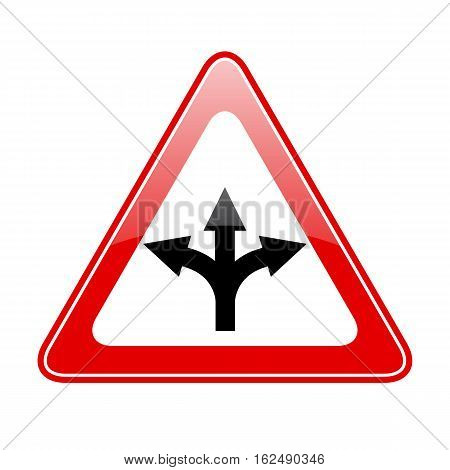 Three way fork road sign vector illustration isolated on white background
