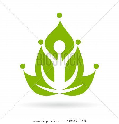 Green yoga meditation icon vector illustration isolated on white background