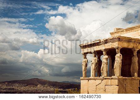 Caryatides of Erechtheion in Acropolis Athens Greece poster
