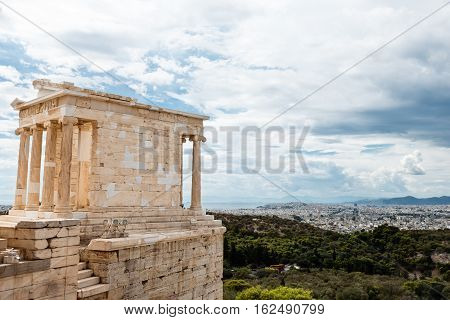 temple of Athena in Acropolis Athens Greece