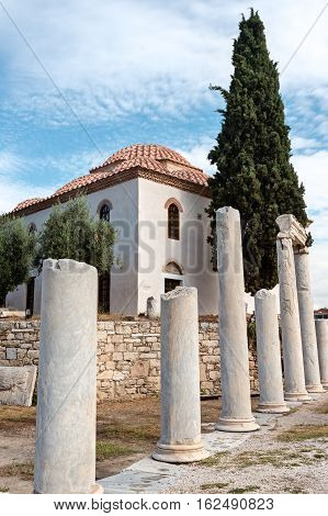 Ortodox temple near ruins of Adrian library Athens Greece