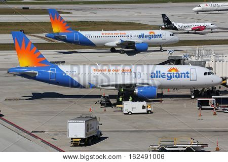 Allegiant Air Airbus A320 Airplanes Fort Lauderdale Airport