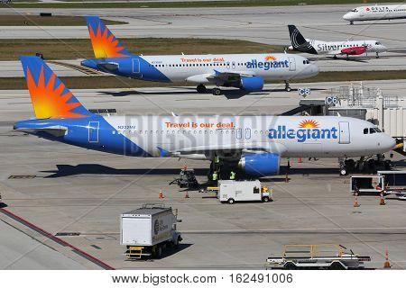Allegiant Air Airbus A320 Airplanes Fort Lauderdale Airport