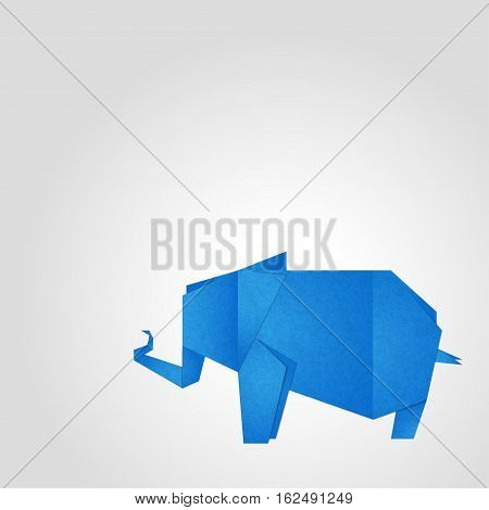 Origami elephant Vector illustration Blue texture elephant in the technique of origami on white background Realistic style